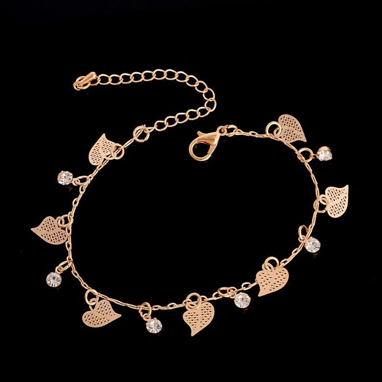 925 Sterling Silver Gold Hollow Out Butter Anklet - onlyone