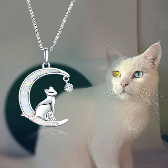 925 Sterling Silver Moon Cat Opal Fashion Necklace. Gift Necklace - onlyone