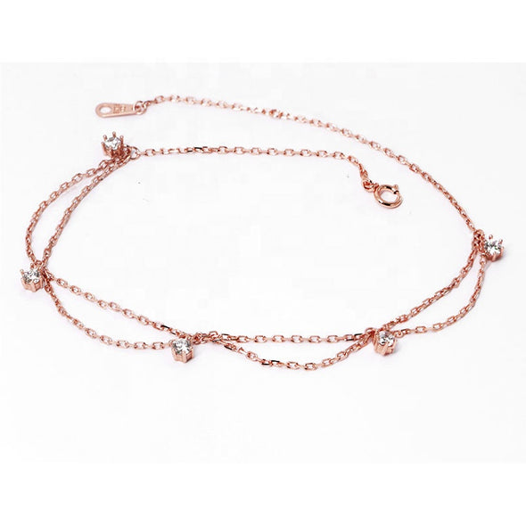 925 Sterling Silver Bohemian Rose Gold Fashion Anklet - onlyone