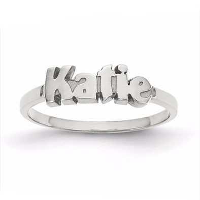 925 Sterling Silver Personalized Katie Style Name Ring Nameplate Ring - onlyone