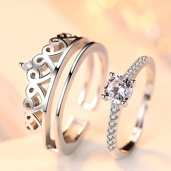 925 Sterling Silver king and queen Two in one fashion couple love ring. - onlyone