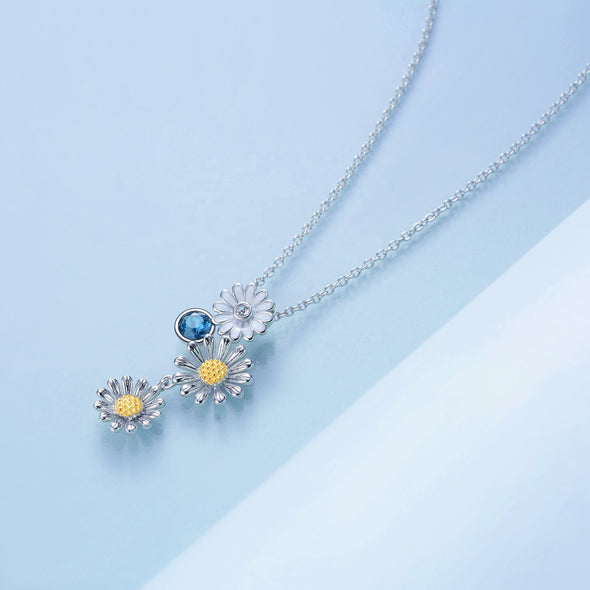 925 Sterling Silver Double Daisy customizable Necklace - onlyone