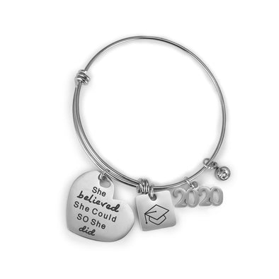 2020 Inspirational Graduation Gifts Bracelet with She Believe She Could So She Did - onlyone
