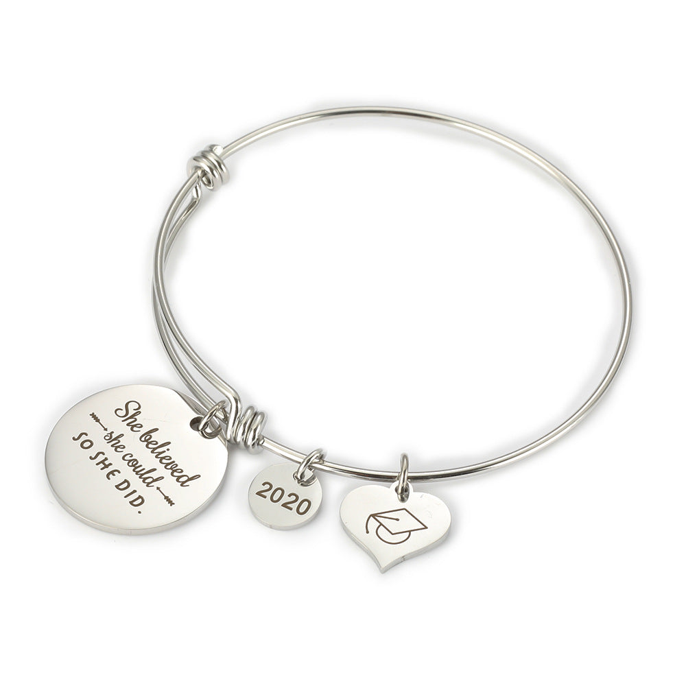 2020 Inspirational Graduation Bracelet with Graduation Grad Cap She Believed She Could So She Did - onlyone