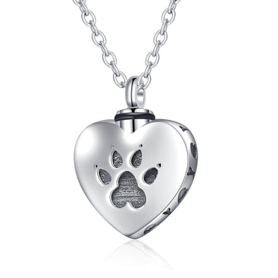 925 Sterling Silver Heart Urn Necklaces Pet Dog Paw Print Cremation Necklace - onlyone