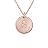 925 Sterling Silver Coin Engraved Initial Necklace With Zirconia, Back To School Gift Necklace - onlyone