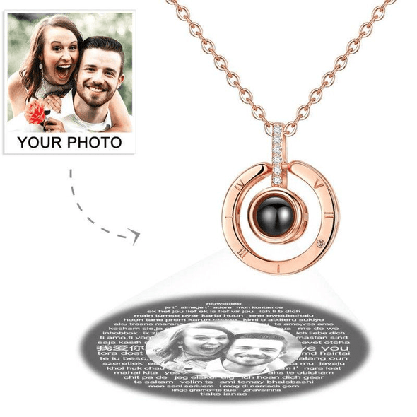 925 Sterling Silver I Love You Necklace In 100 Languages Projection Photo Necklace - onlyone
