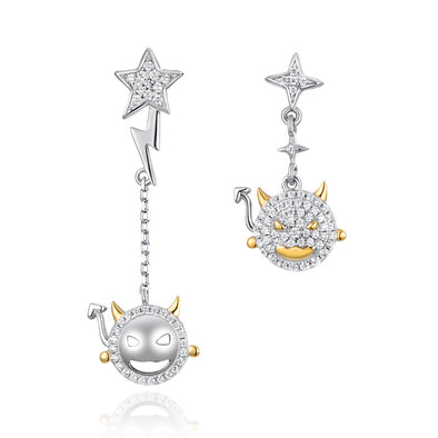 925 Sterling Silver Iced Out Little Devil Pendant Earrings