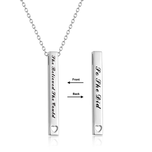 925 Sterling Silver 2 Sides Engraved Vertical Bar Necklace Inspirational Quotes Necklace She Believed She Could So She Did - onlyone