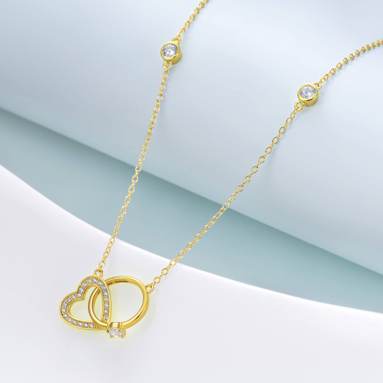 925 Sterling Silver Interlocking Heart Circle Necklace I Love You Engraved - onlyone