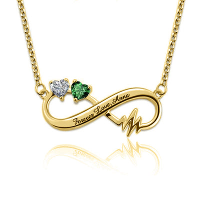 925 Sterling Silver Infinity Birthstone Heartbeat Name Necklace Nameplate Necklace - onlyone