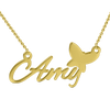 """Amy""Style 14K Personalized  Name Necklace Adjustable 16"" - 20"" White Gold/Yellow Gold/Rose Gold - onlyone"