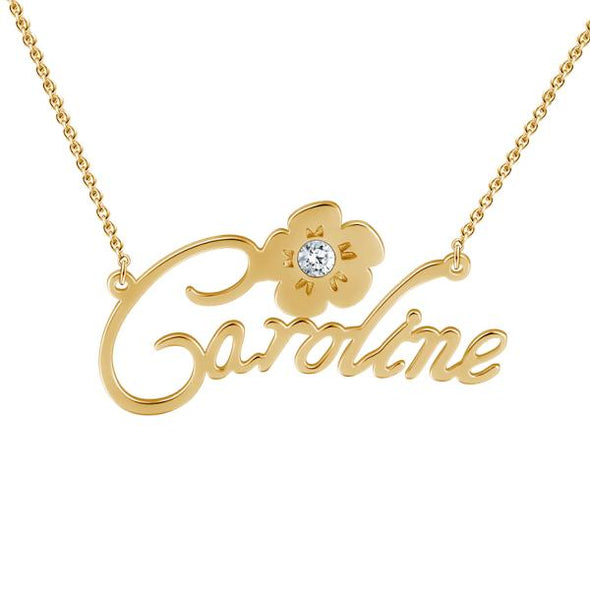 925 Sterling Silver Custom Caroline Name Necklace Nameplate Necklace With Diamond - onlyone