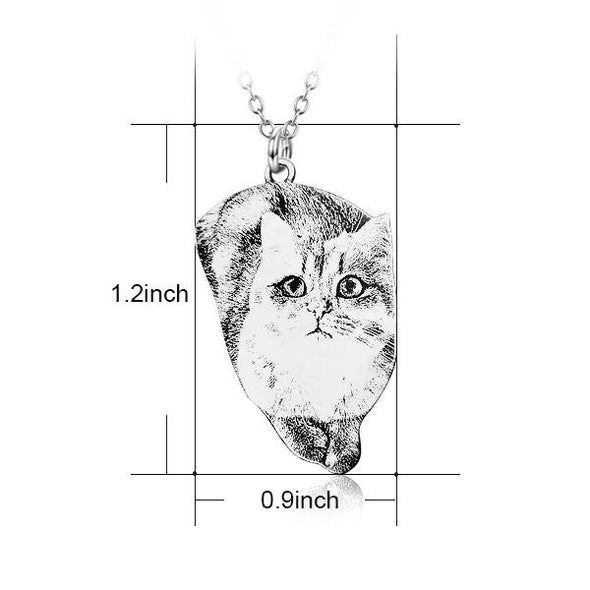 925 Sterling Silver Pets Photo Engraved Necklace Cute Cat/Dog Engraved Necklace - onlyone