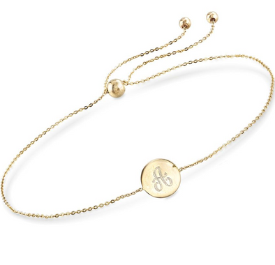 "14K Gold Personalized Single Initial Circle Disc Bracelet Length Adjustable 6"" - 7"" - onlyone"