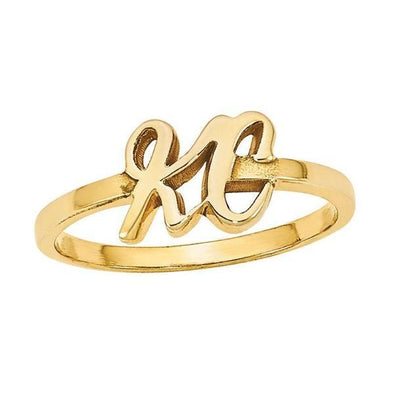 925 Sterling Silver Personalized Initial Ring - onlyone
