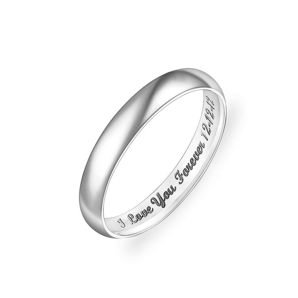 925 Sterling Silver Personalized Low Dome Engraved Ring - onlyone