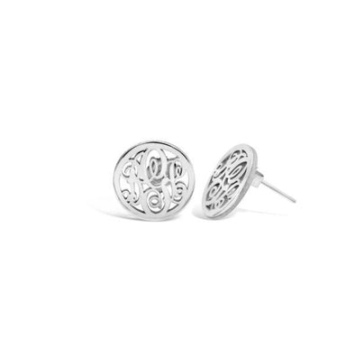 925 Sterling Silver Personalized Circle Stud Monogram Earrings - onlyone