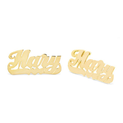 10K/14K Gold Personalized Nameplate Studs Earrings - onlyone