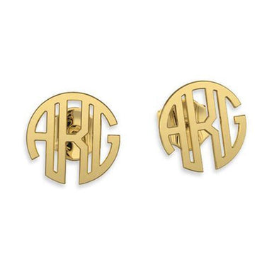925 Sterling Silver Personalized Monogram Stud Earrings - onlyone