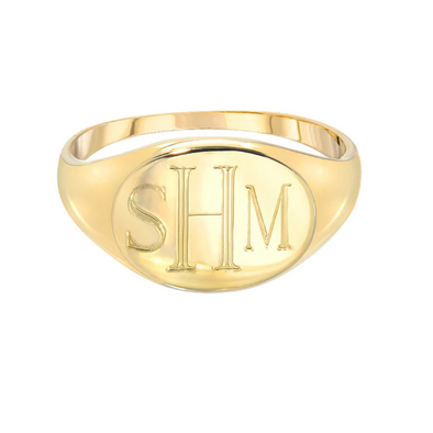 925 Sterling Silver Personalized Engraved Signet Ring - onlyone