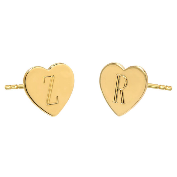 10K/14K Gold Personalized Engraved Hearts Stud Earrings - onlyone