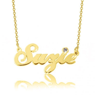 "14K Gold Personalized Swarovski Name Necklace  Adjustable 16"" - 20"" - onlyone"