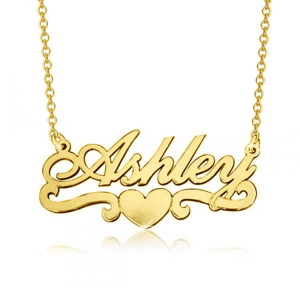 "14K Gold Personalized Name Necklace With Heart Adjustable 16"" - 20"" - onlyone"