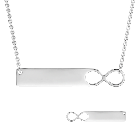 925 Sterling Silver Engraved Infinity Bar Name Necklace Nameplate Necklace - onlyone