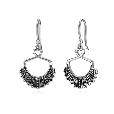 925 Sterling Silver Dissent Collar Dangle Earrings