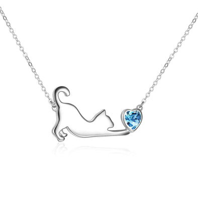 925 Sterling Silver Cat Playing Heart Necklace - onlyone