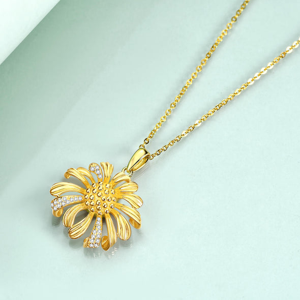 925 Sterling Silver Sunflower Necklace - onlyone