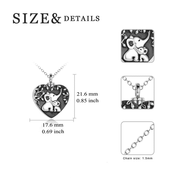 925 Sterling Silver Elephant Heart Urn Necklace for Ashes Cremation Jewelry for Ashes - onlyone