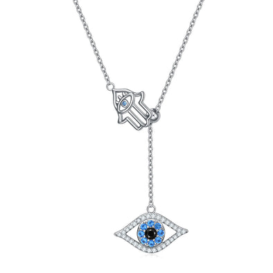 925 Sterling Silver Hamsa Hand Of Fatima With Evil Eye Lariat Necklace