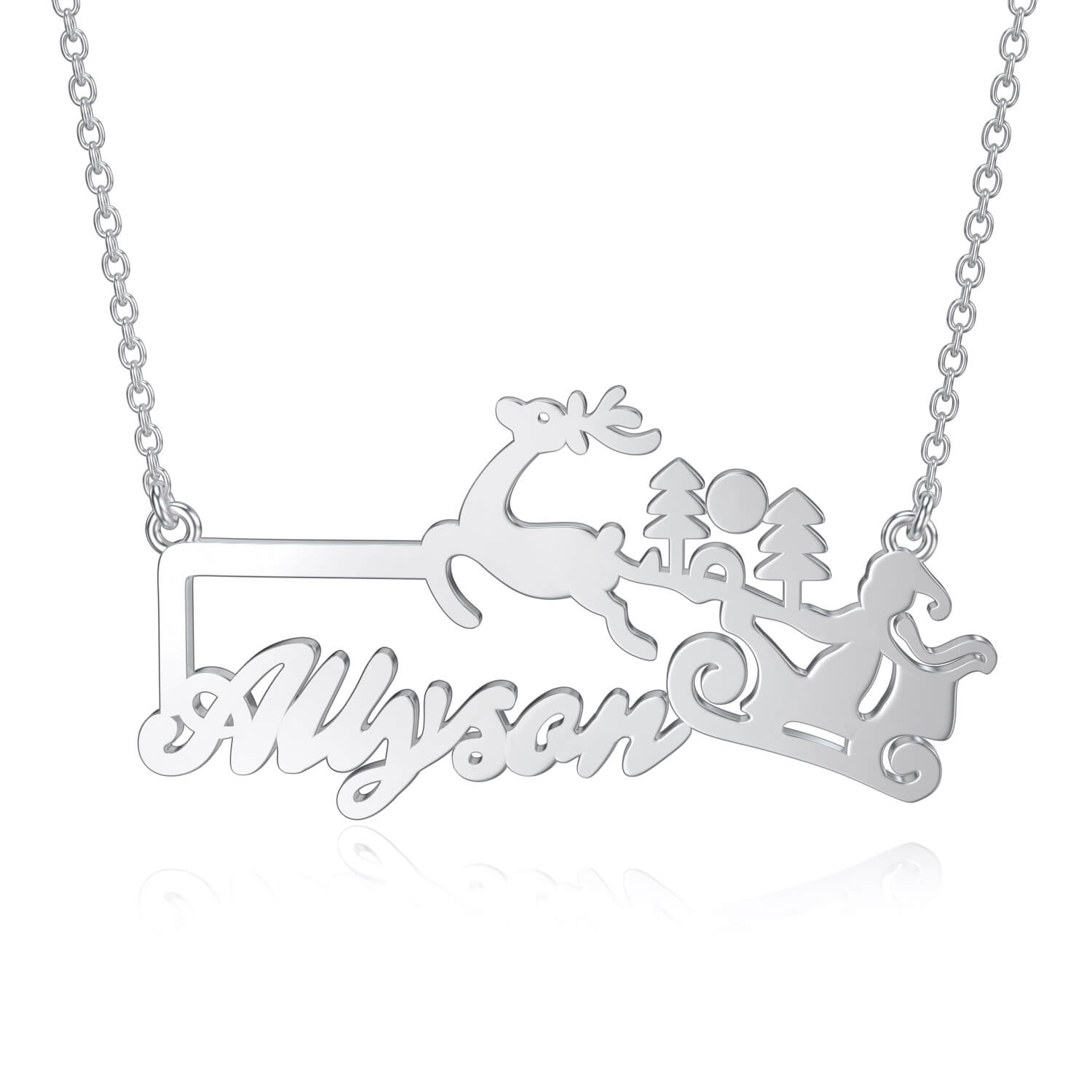 925 Sterling Silver Reindeer Carriage Name Necklace