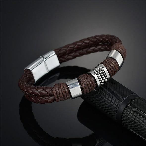 Knit Mens Leather Bracelet Brown Weave Black Punk, Father's Day Bracelet - onlyone