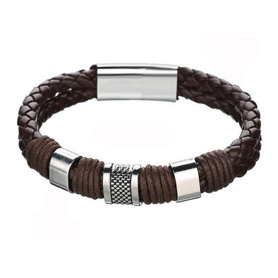 Knit Mens Leather Bracelet Brown Weave Black Punk, Father's Day Bracelet