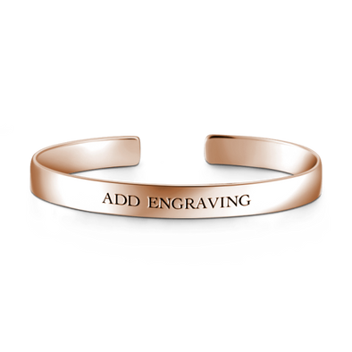 925 Sterling Silver Personalized Engraved Large Cuff Inspirational Bracelet - onlyone