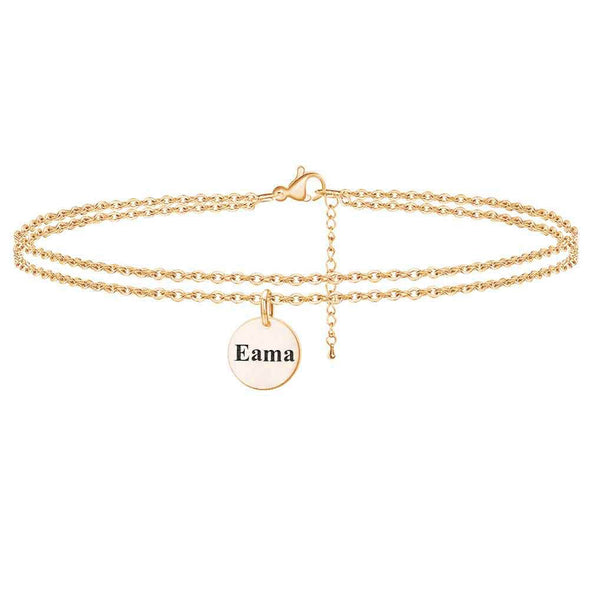 925 Sterling Silver Personalized Name Disc Double Layers Anklet Bracelet