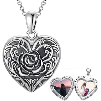 925 Sterling Silver Cameo Rose Flower Heart Photo Locket Necklace