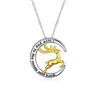 925 Sterling Silver Lucky Deer Pendant Necklace I Love You To The Moon And Back Christmas Gifts - onlyone