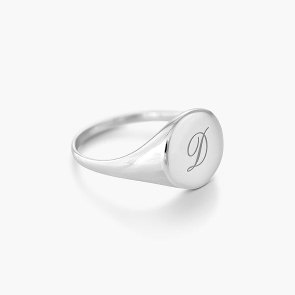 925 Sterling Silver Round Name Ring