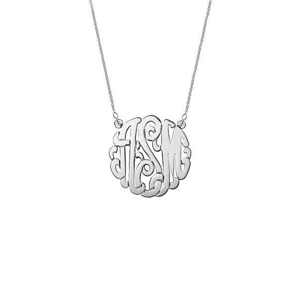 925 Sterling Silver Initial Monogram Necklace - onlyone