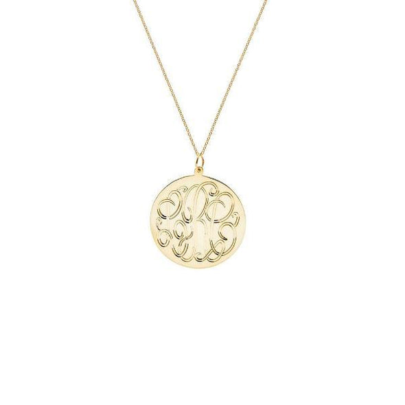 925 Sterling Silver Monogram Engraved Necklace - onlyone