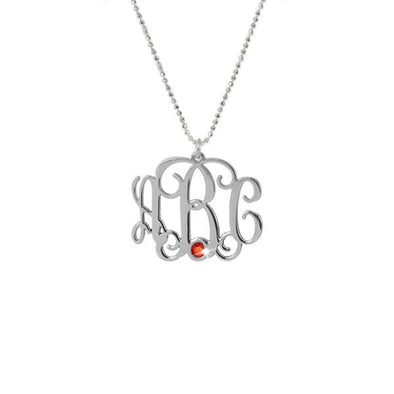 925 Sterling Silver Initial Monogram Necklace With Birthstone - onlyone