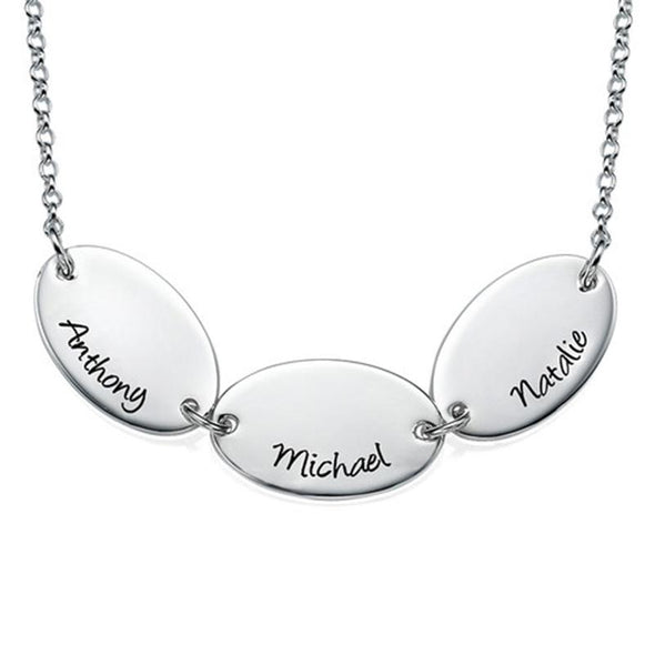 925 Sterling Silver Oval Coin Engraved Name Necklace Gift Nameplate Necklace - onlyone