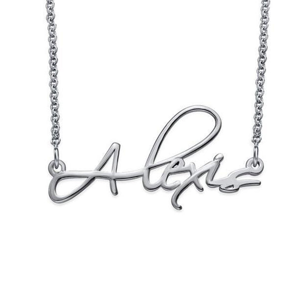 925 Sterling Silver Script Custom Name Necklace Nameplate Necklace - onlyone