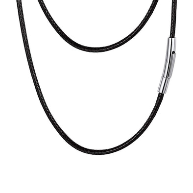 Mens Waxed Rope Braided Leather Necklace With Stainless Steel Durable Clasp