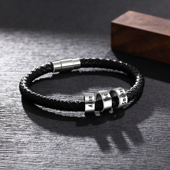 Men's Black Leather Bracelet With 925 Sterling Silver Name Plated Charms, Father's Day Bracelet - onlyone