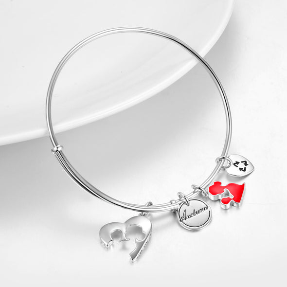 Personalized 925 Sterling Silver Mom Expandable Bangles - onlyone